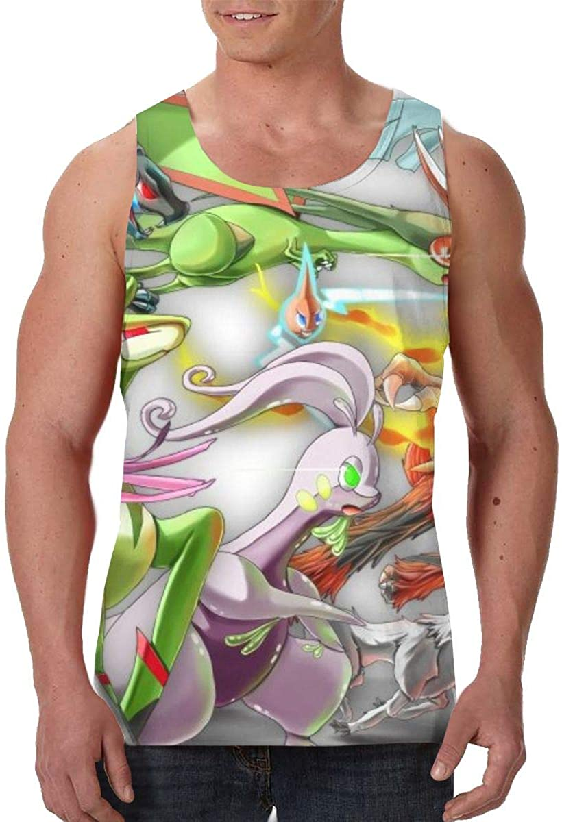 NMNMNM Lucario Mens 3D Funny Tank Top Casual Breathable Lightweight Soft Sleeveless T-Shirts