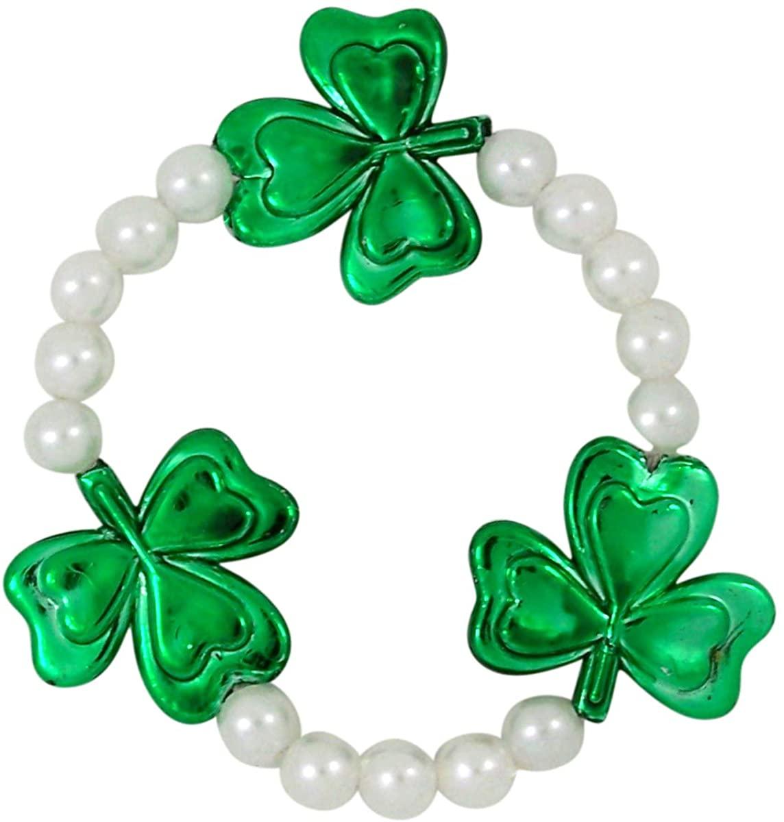 Green and White Shamrock Bead St Patricks Day Bracelet, 7 Inch