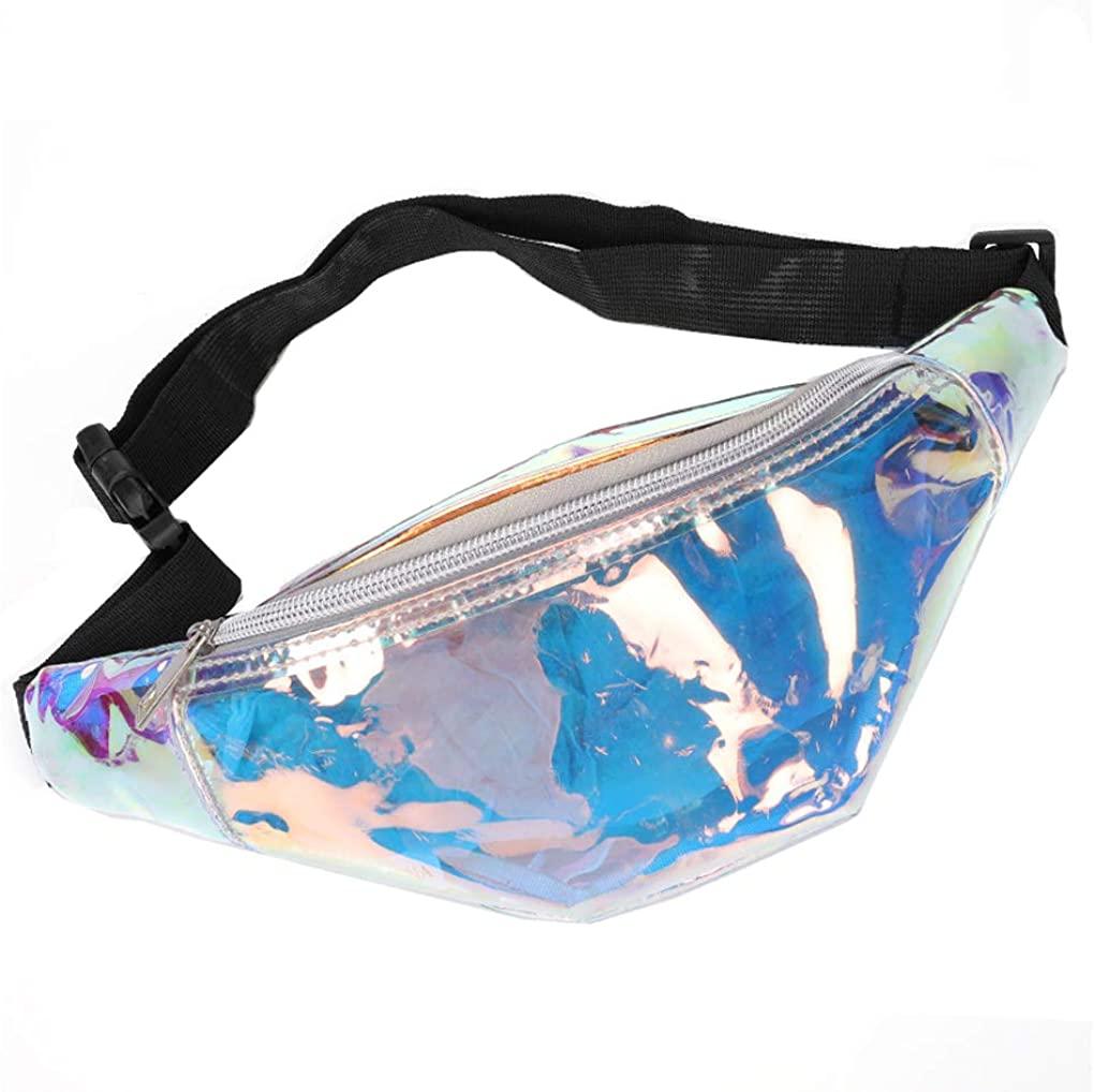 Qinni-shop Women Men Holographic Shiny Waist Bag Festival Fashion Fanny Pack Belt Bag