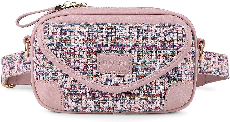 ECOSUSI Women's Waist Bag Crossbody Fanny Packs Shoulder Bags with Two Adjustable Shoulder Straps, Pink