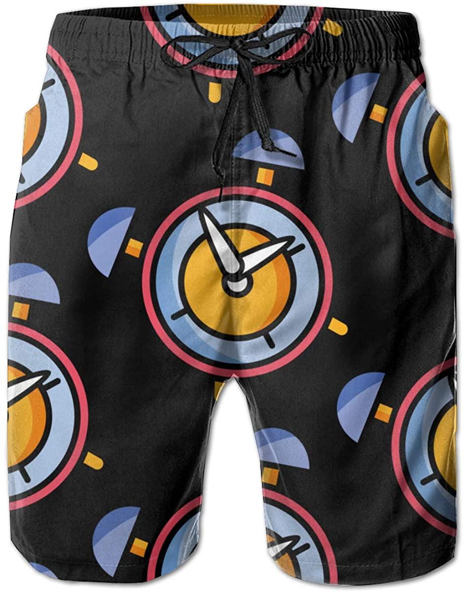 Round Alarm Clock Mens Swim Trunks Summer Casual Athletic Swimming Short