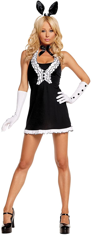 Black Tie Bunny Costume Dress, Vest, Gloves, Neck Piece, Bunny Ears Head Band