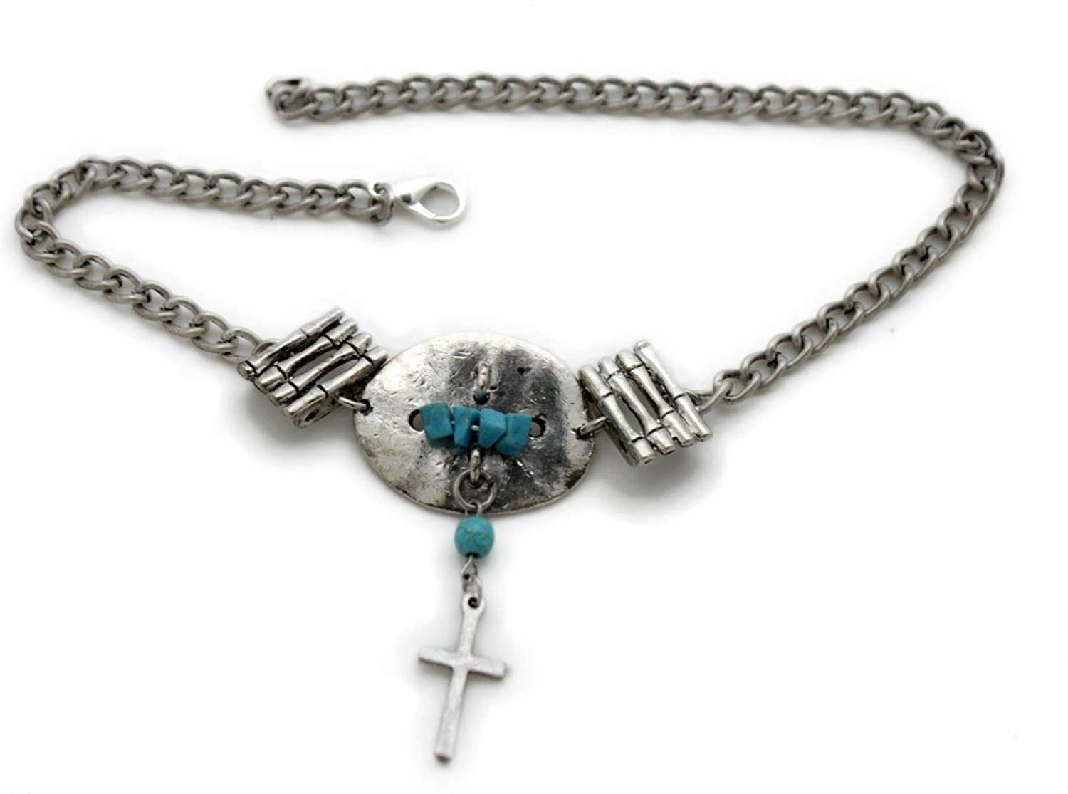 Trendy Fashion Jewelry TFJ Women Western Boot Chains Metal Bling Bracelet Anklet Silver Cross Charm Turquoise Blue Beads