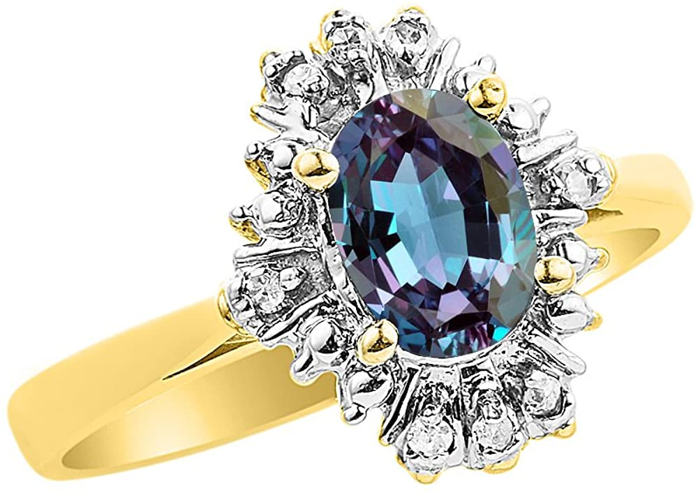 Diamond & Simulated Alexandrite Ring Set In 14K Yellow Gold Fanned Diamonds