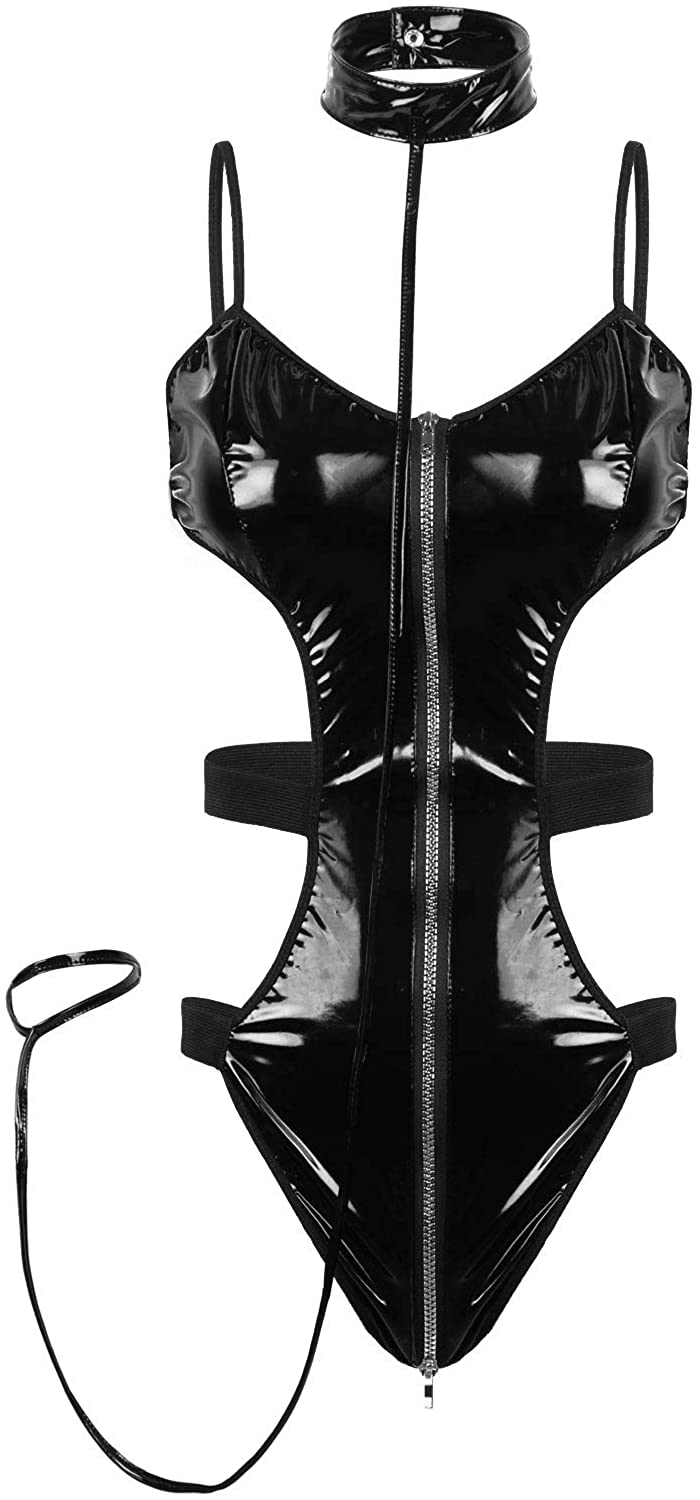 CHICTRY Women's One Piece Shiny Metallic Leather Strappy Zipper Crotch Cut Out Bodysuit Leotard Catsuit
