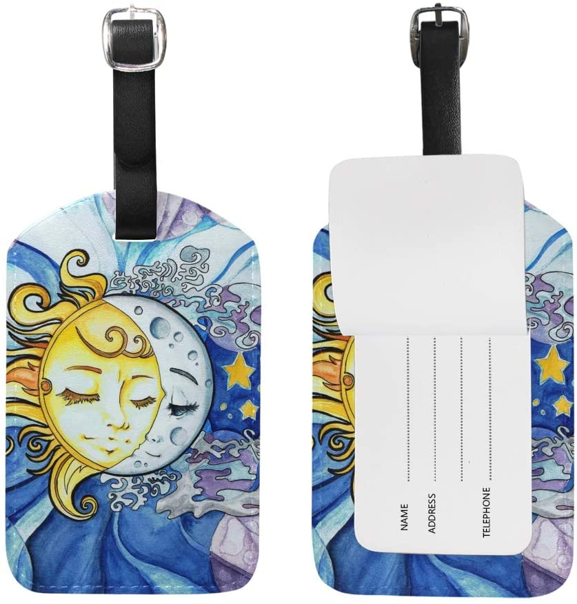 2PCS Leather Watercolor Sun Moon Luggage Tags Travel Baggage Labels Bag Tag