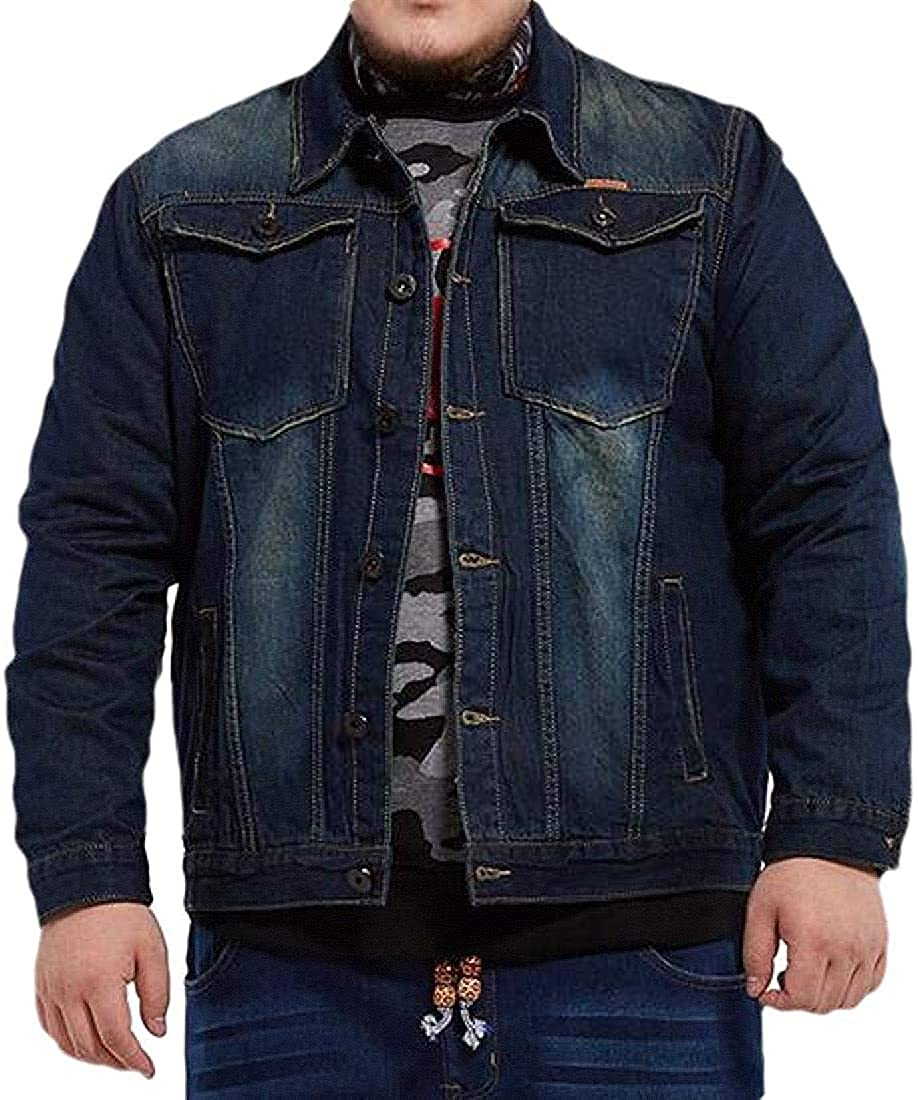 Men Big and Tall Slim Fit Washed Classic Plus Size with Pockets Denim Jacket Jean Coat