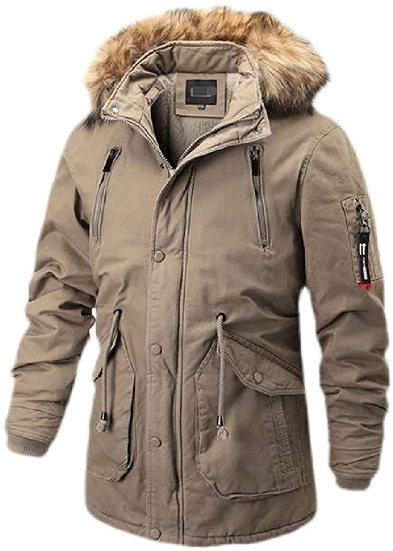 Qhghdgysd Men's Winter Faux Fur Hood Wool Lined Thick Parka Jacket Coat