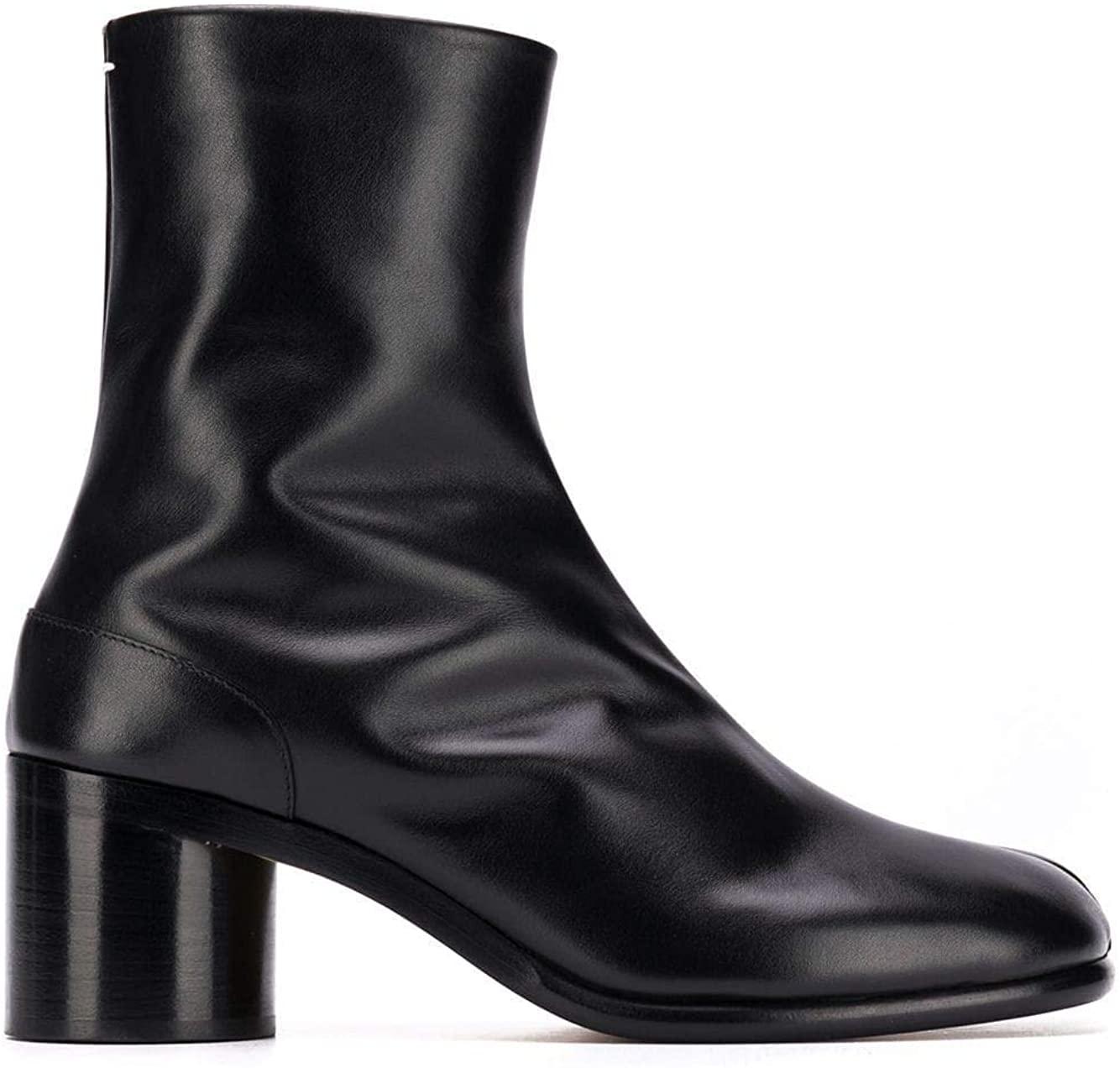 Maison Margiela Luxury Fashion Man S57WU0132PR516T8013 Black Leather Ankle Boots | Season Permanent