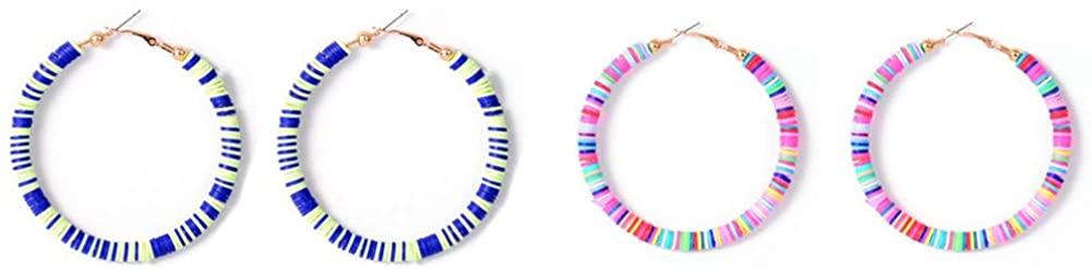 2 Pairs Rainbow Clay Drop Earrings Handmade Boho African Vinyl Disc Beads Dangle Earrings Colorful Summer Surfer Earrings for Women Girls Jewelry