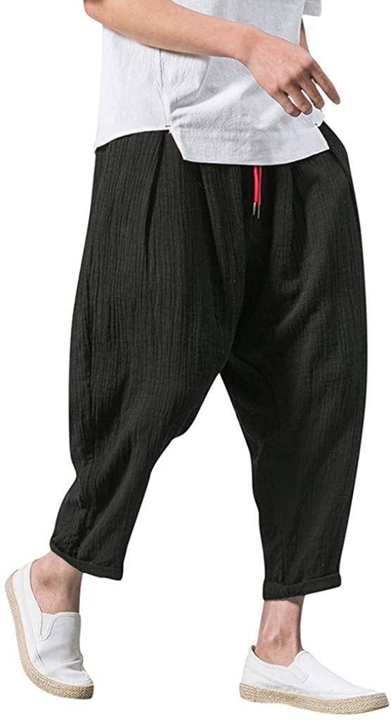 Men's Pants Casual Baggy Harem Pants Loose Drawstring Jogger 3/4 Capri Pants with Big Pockets