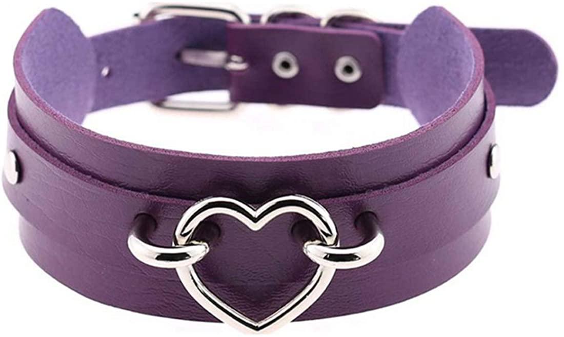 JNKET Fashion Gold Silver Metal Heart Choker PU Leather Necklace Neck Strap Nightclub Neck Accessories