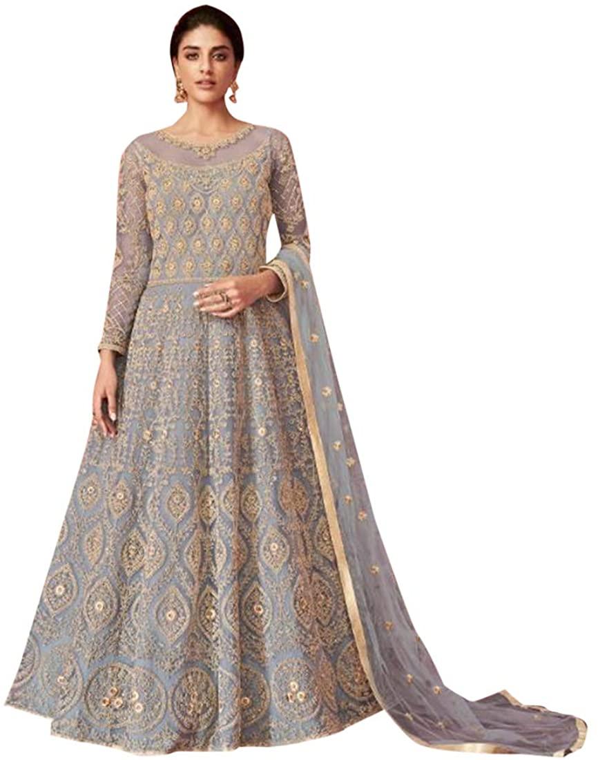 Grey Indian Heavy Butterfly Net Zari Embroidered Anarkali Suit Muslim Women dress Festive Party wear Semi-stitch 8544