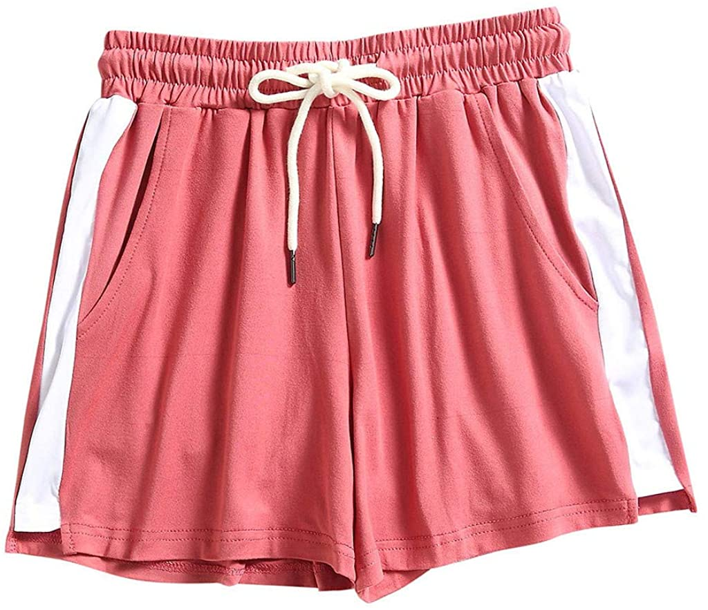 LIEIKIC Womens Casual Drawstring Elastic Waist Summer Shorts with Pockets Solid Comfy Sport Beach Shorts