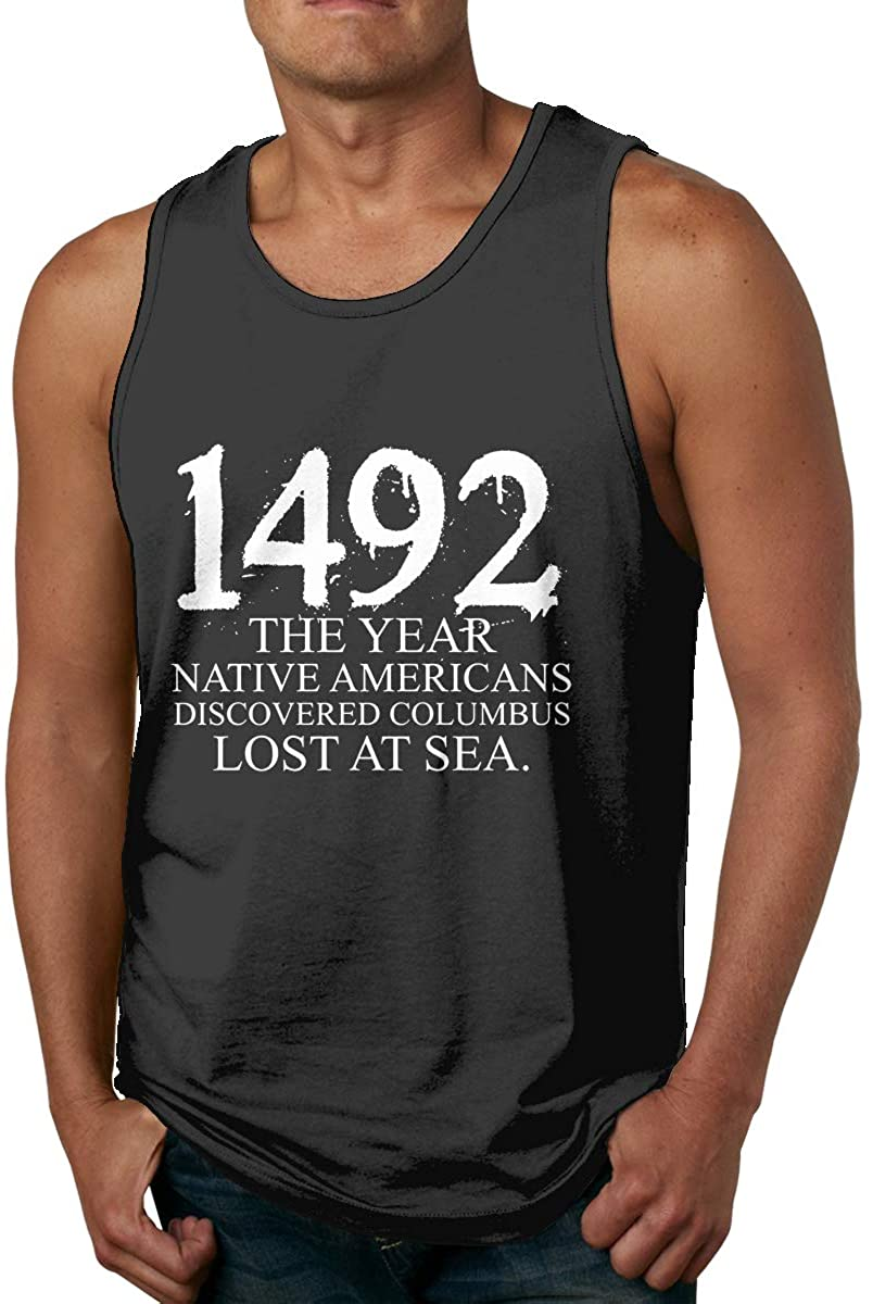 Native Americans Discovered Columbus Lost Mens Printed Vest Sports Tank-Top Shirts Leisure Sleeveless T Shirt
