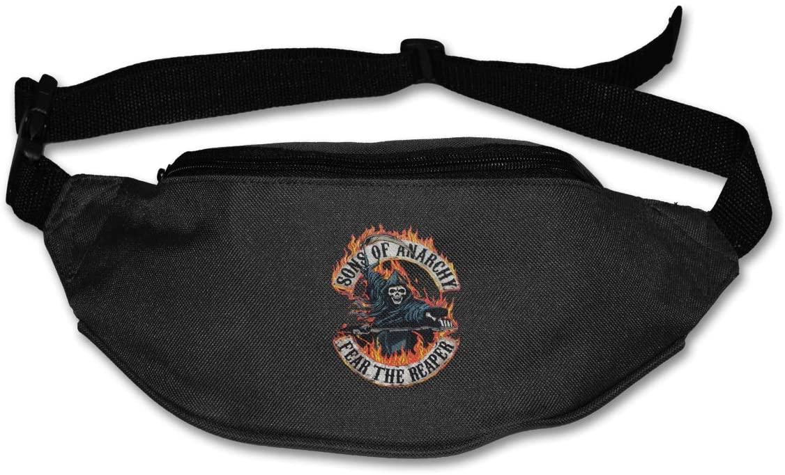 Hwxzviodfjg Sons of Anarchy Fear The Reaper1 Adjustable Running Belt Waist Pack Belt Fanny Pack Black