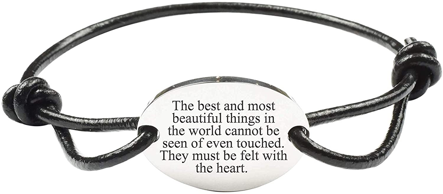 Pink Box Fully Adjustable Genuine Leather Inspirational Bracelet - Silver - Beautiful Things