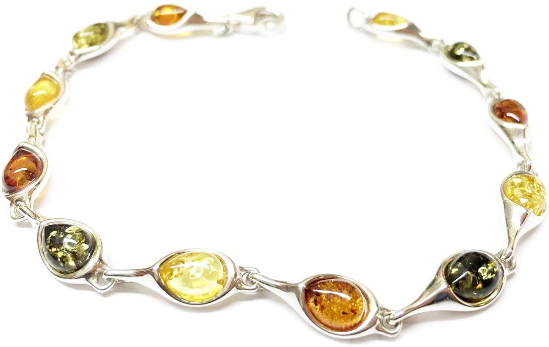 Creazioni Oro 925/1000 Silver Bracelet with Multicolor Natural Baltic Amber W0560