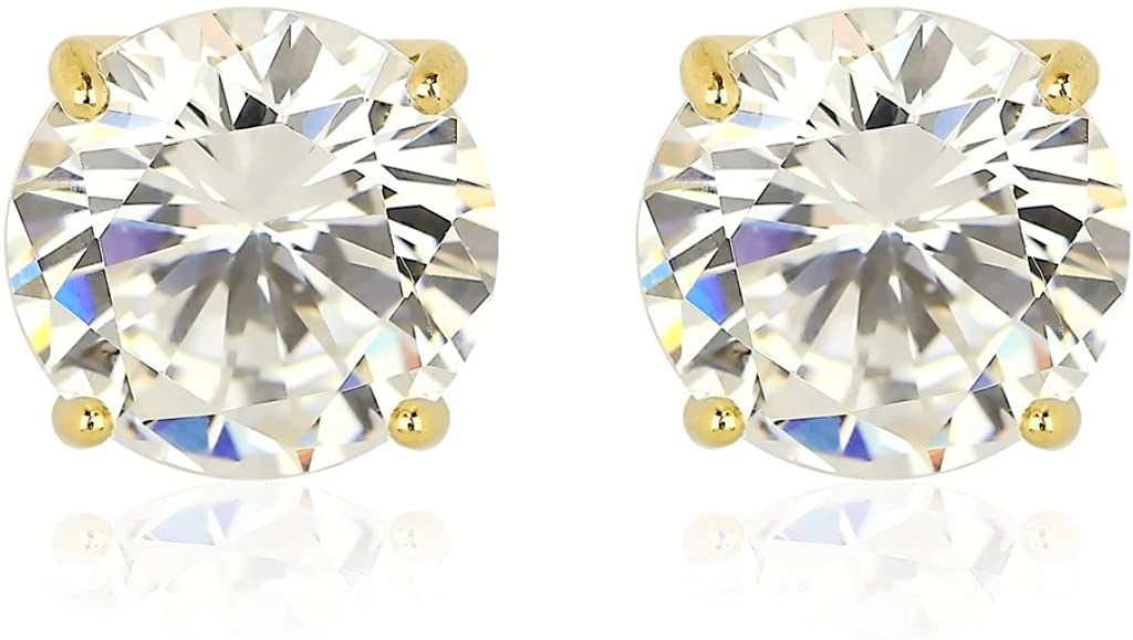 Lux Accessories Goldtone Plated CZ Stud Earrings with Silvertone base & Highest Grade AAA CZ Stone