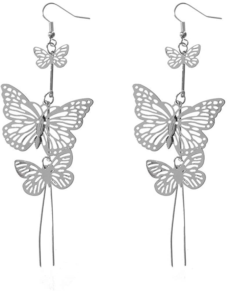 Long Tassel Butterfly Drop Earrings Paper Butterfly Ear Jewelry Gift