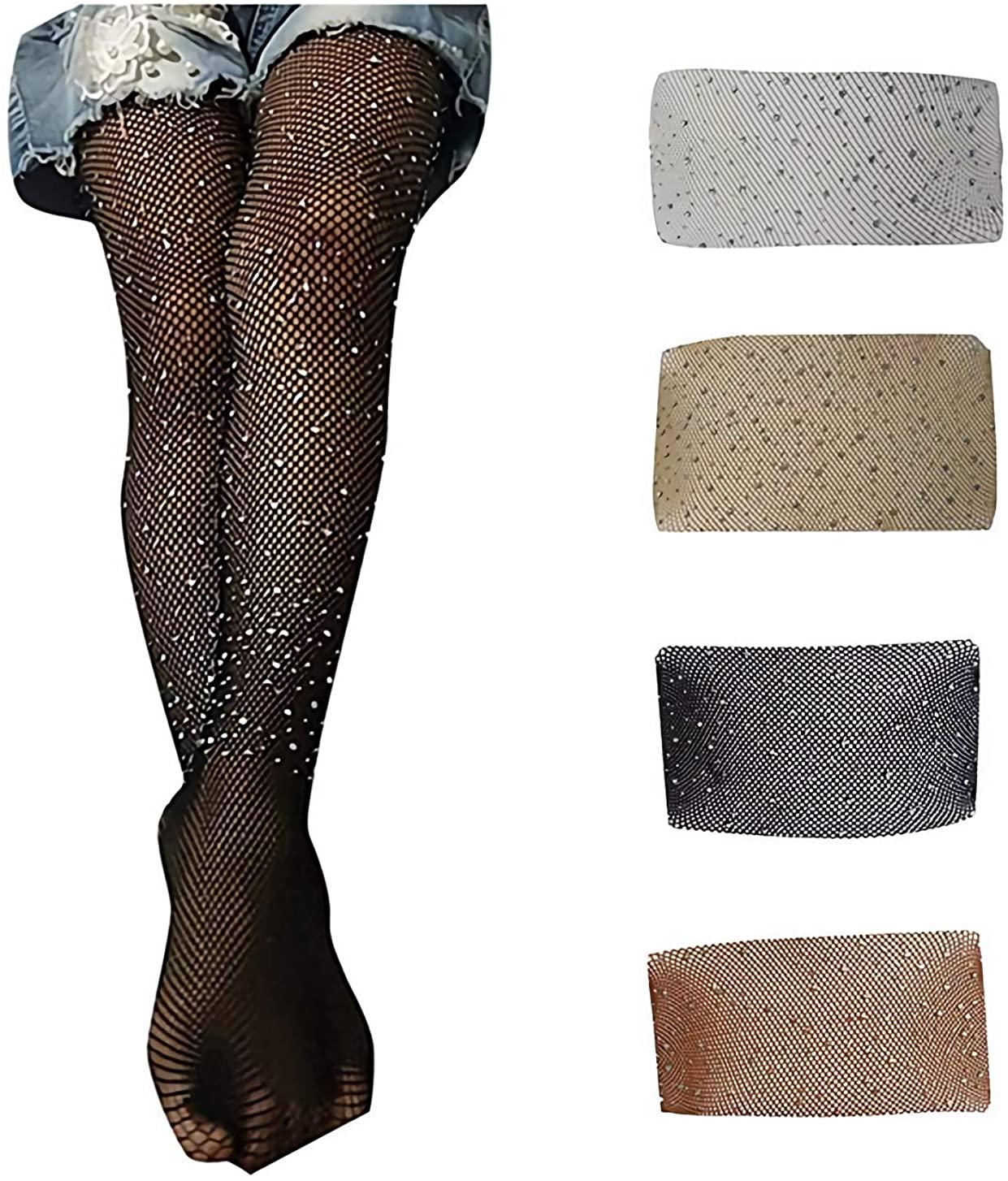 Napoo-Baby clothes Kid Girl Mesh Fishnet Rhinestone Pantyhose Flash Tights Shining Stockings