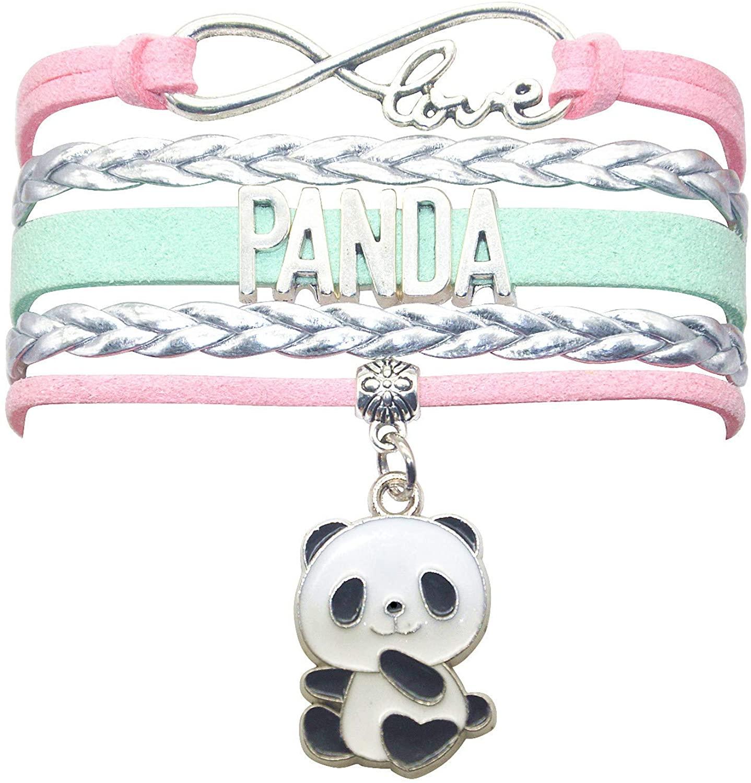 HCChanshi Panda Bracelet Jewelry Bear Cute Infinity Love Panda Charm Bracelet Gifts for Girls, Women, Men, Boys