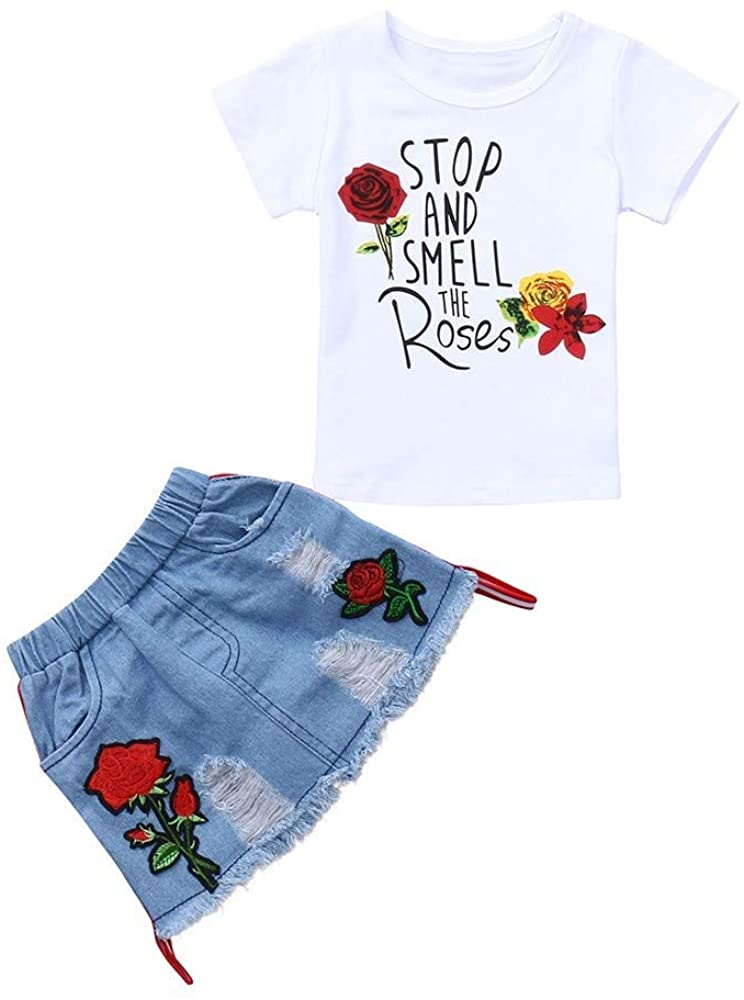 FCQNY Clothing Sets Little Girls T-Shirt Tee+Denim Skirts Sporty Outfits Set (Color : White, Size : 80)