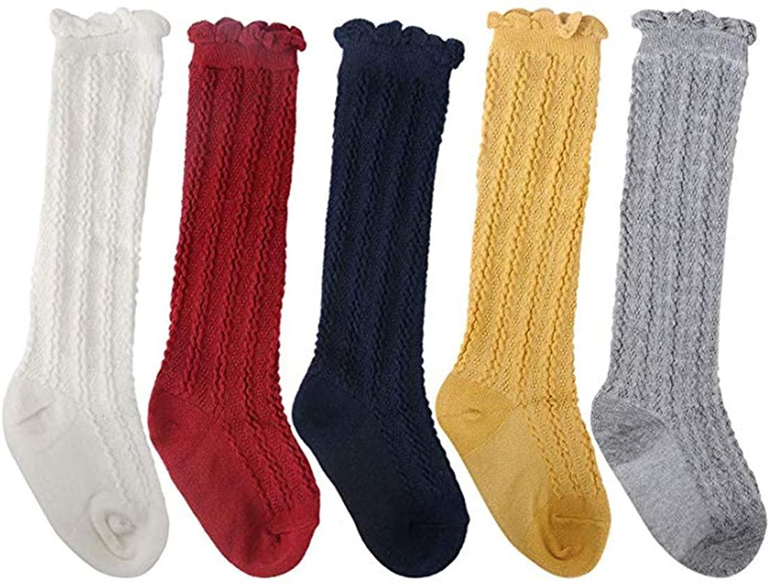 Baby Girl Boy Toddler Knee High Cotton Socks Tube Ruffled Stockings 5 Pack