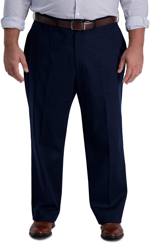 Haggar Men's B&T Iron Free Premium Khaki Classic Fit Flat Front Expandable Waist Pant