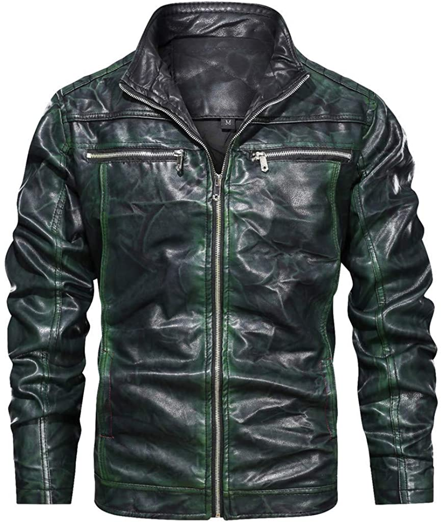 Aoukey Men's Leather Loose Jacket Autumn Winter Vintage Zipper Imitation Leather Stand Collar Printing Coat