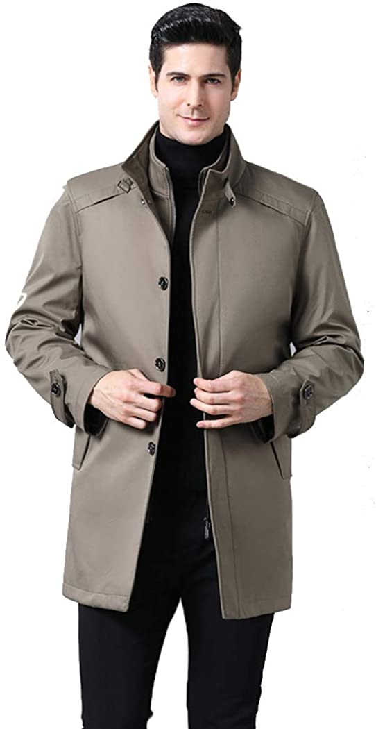Michealboy Mens Pea Coat Removable Liner Regular Fit Stand Collar Mid-Length Camel/Navy