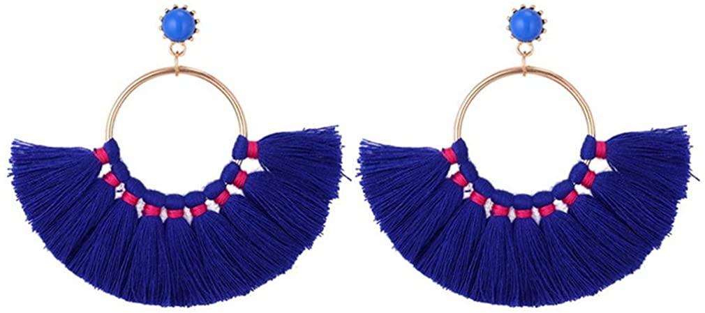 YAZILIND Bohemian Retro Fan-shaped Pendant Tassel Dangle Circle Earring Ear Stud Jewelry for Women Girls Birthday Gift