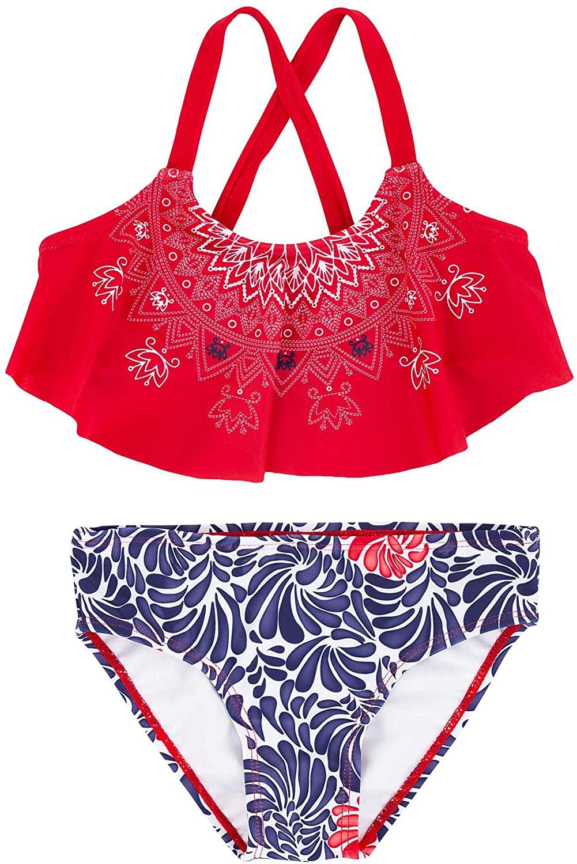 Deux par Deux Girls Flare Top Swimsuit Playa Del Mar, Sizes 4-12
