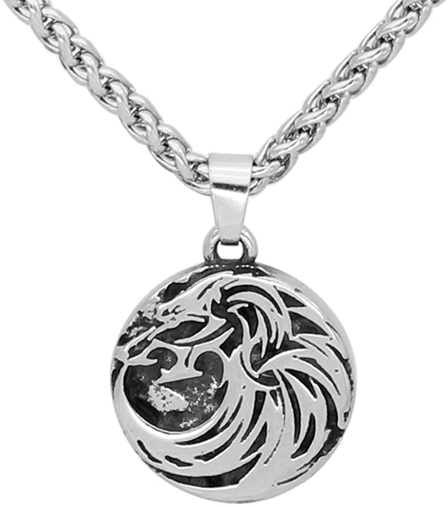 GuoShuang Stainless Steel Nordic Viking Odin Wolf Amulet Rune Pendant Necklace -Small Size with Valknut Gift Bag