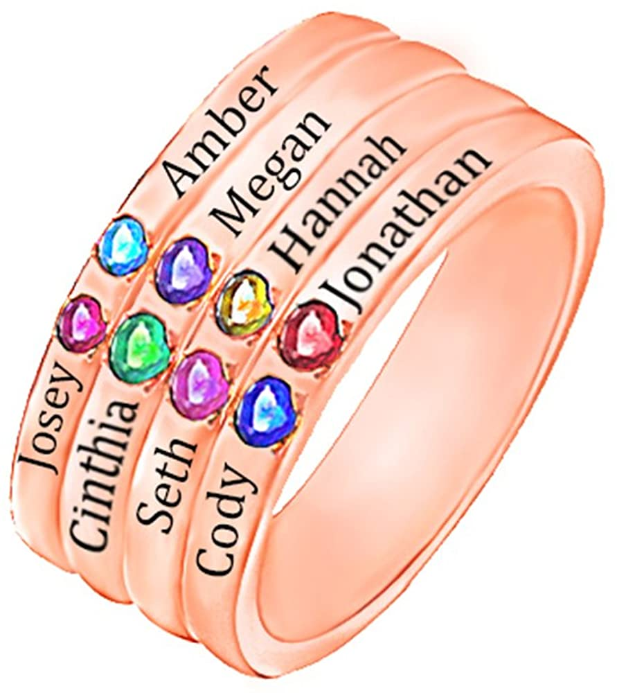Personalized Eight Birthstone Mothers Ring Birthstone Rings Family jewerly Sterling Silver Rings