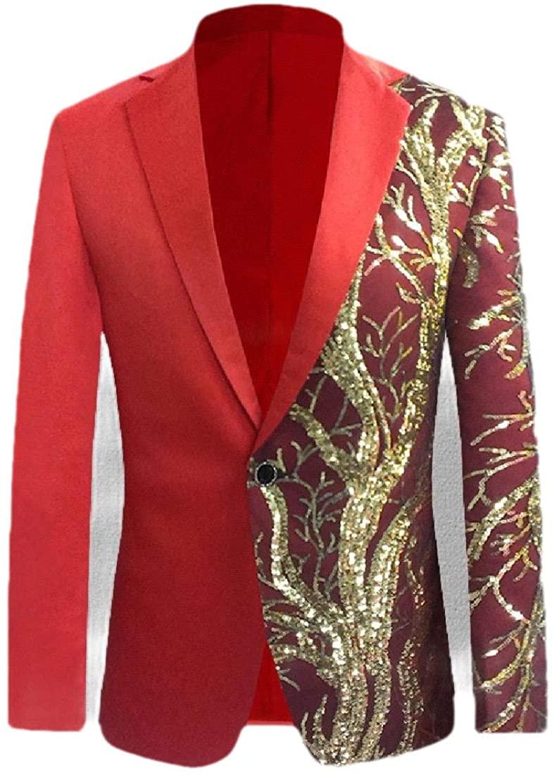 Abetteric Mens Sequin Wedding Party Premium Select One Button Jacket Blazer Coat