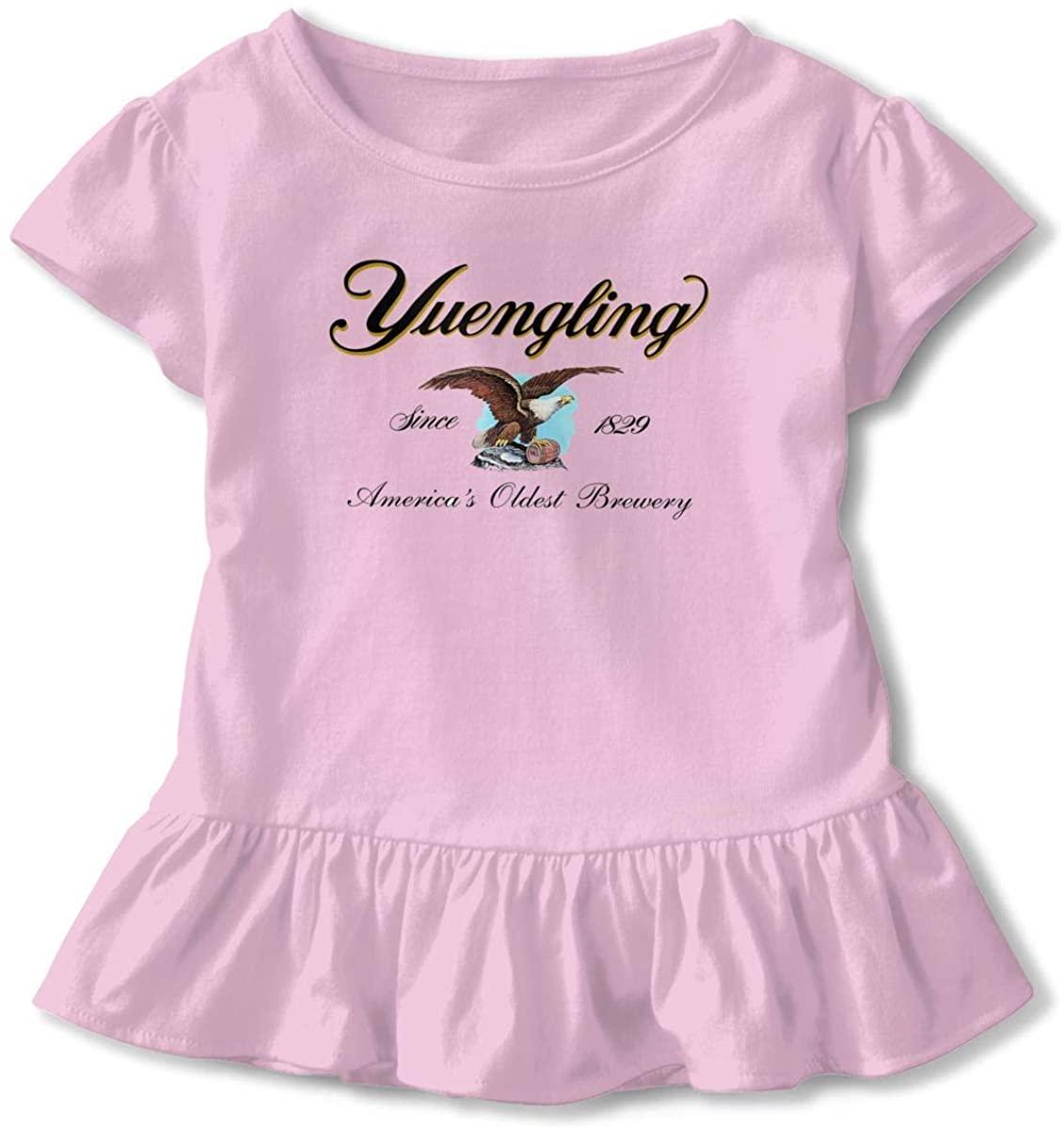 Yuengling and Sons Brewing Beer Development 3D Tee Baseball Ruffle Short Sleeve Cotton T Shirt Top for Girls Kids