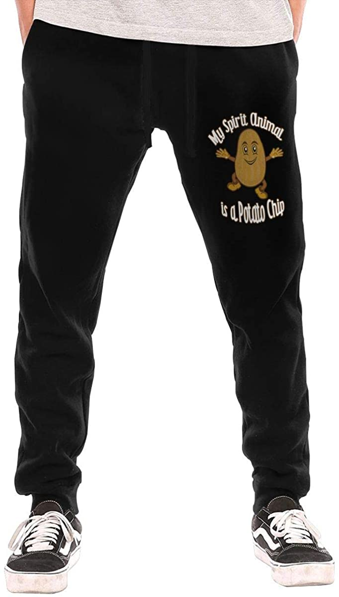 My Spirit Animal is A Potato Chip Men's Casual Joggers Pants Trousers Sweatpants with Drawstring