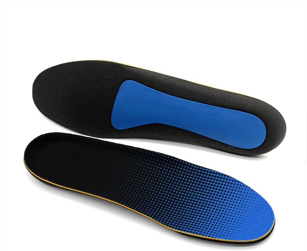 LASAR Plantar Fasciitis Insoles for Men and Women Arch Supports Orthotics Shoe Inserts Relieve Flat Feet, High Arch, Foot Pain(Black Blue,Men's 8-10.5/ Women's 10-12.5)