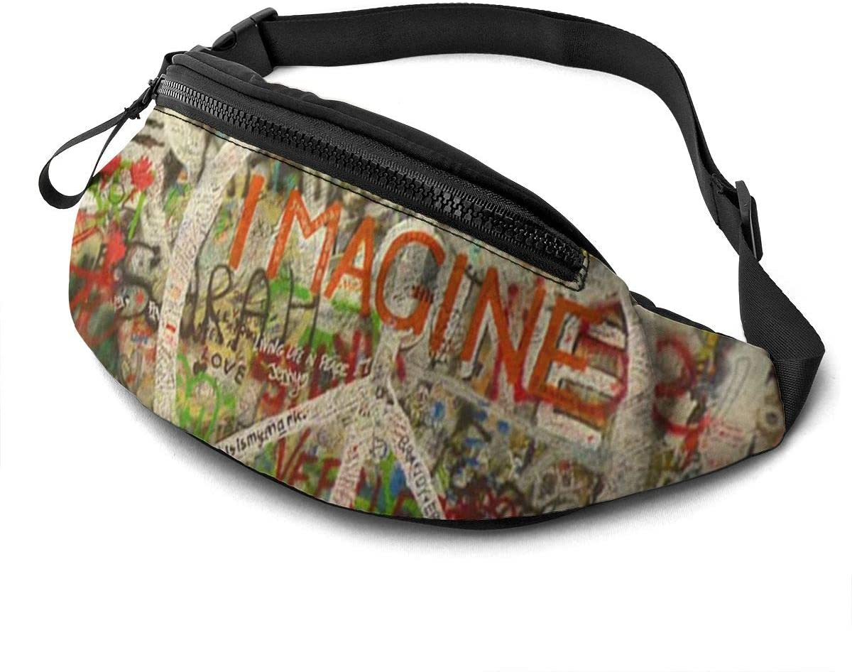 Rectangle Peace Sign Graffiti All You Need Is Love Fanny Pack for Men Women Waist Pack Bag with Headphone Jack and Zipper Pockets Adjustable Straps