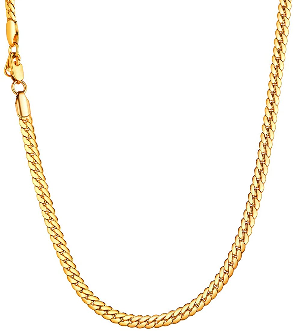 U7 Men Women 18K Gold Plated Necklace with Gift Box 18KGP Stamp Hip Hop Jewelry 4 Colors 6MM-9MM Wide Snake Curb Link Chain,Length 18 Inch-32Inch,Custom Text Engravable