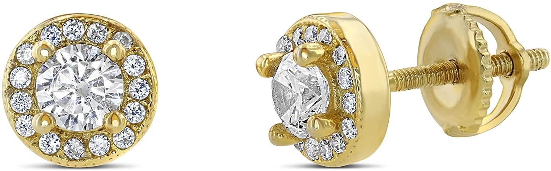 Men Women Iced Out 18k Gold/Rhodium Finish Lab Diamond CZ Screw back Stud Earnings 7MM aretes para hombre - Mens Earrings, Screw Back, Mens Jewelry, Hip hop Earring