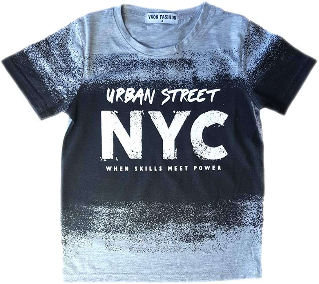 Boys Short Sleeved Urban T-Shirt New Kids Urban NYC Brooklyn Summer Tee Tops Ag