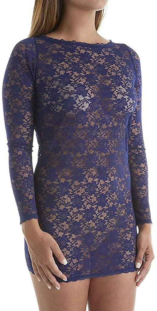 Dreamgirl Womens Plus-Size Stretch Lace Bateau Neckline Long-Sleeve Tunic