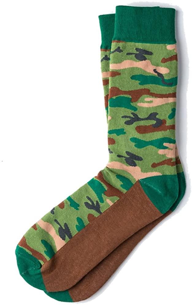Mens Hipster Camouflage Camo Novelty Crew Dress Socks