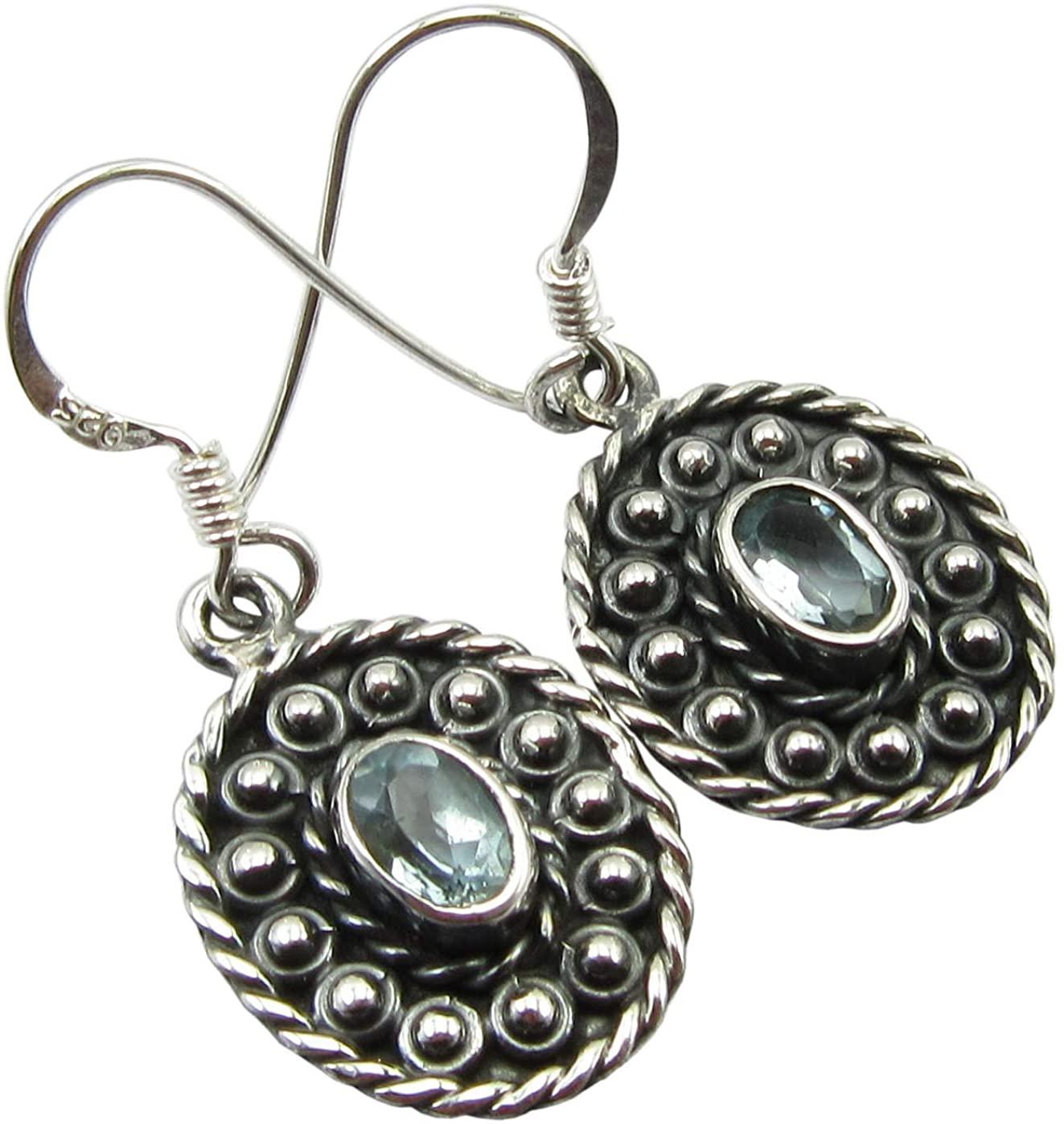 SilverStarJewel 925 Sterling Silver Natural Blue Topaz Earrings 1.3