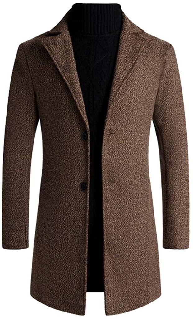 Kstare Men's Trench Coat Long Wool Slim Fit Jacket Overcoat Windproof Pea Vintage Winter Jackets Button Coats Outwear