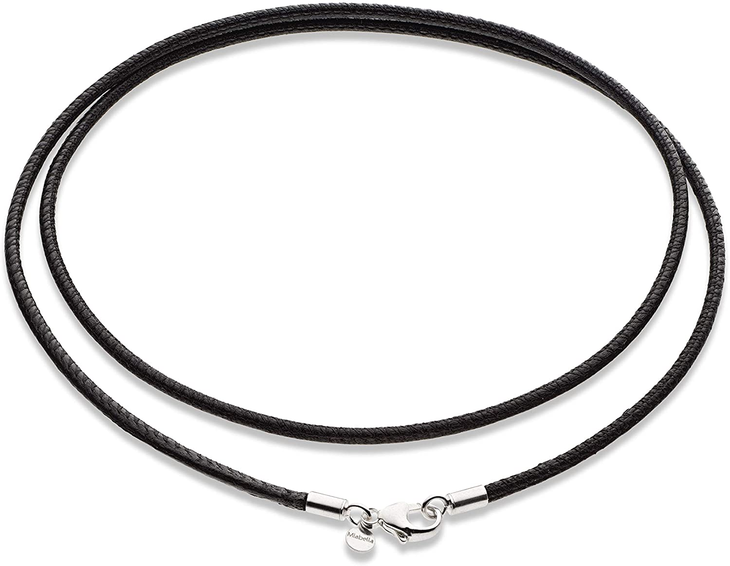 Miabella Genuine Italian 2mm Black or Brown Leather Cord Chain Necklace for Men Women with 925 Sterling Silver Clasp 14, 16, 18, 20, 22, 24, 26 Inch Made in Italy