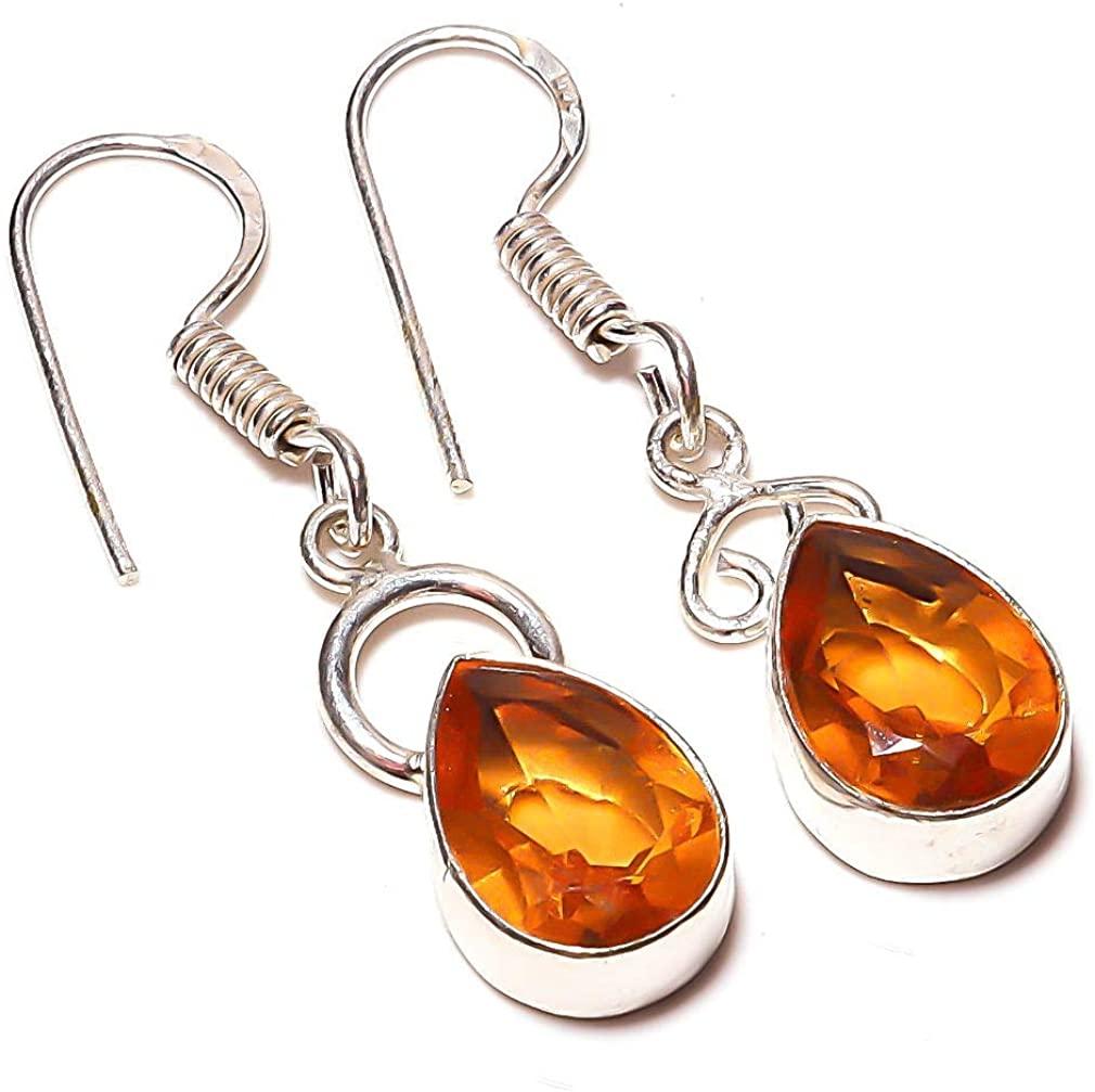 Ethnic Wear Earring! Yellow Citrine Quartz HANDMADE Jewelry Sterling Silver Plate 2.5 Long