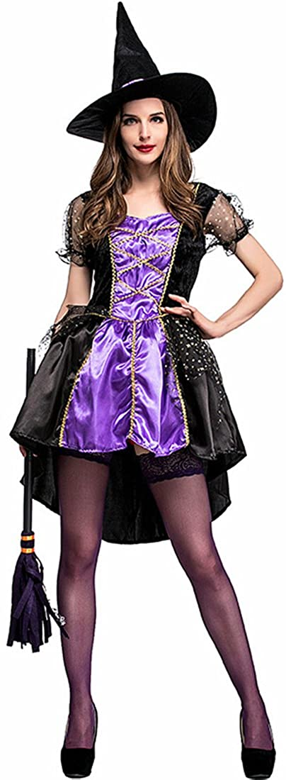 MV New Halloween Purple Swallow Tail Witch Clothing Japanese Witch Game Suit COS
